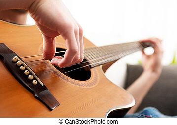 spielende gitarre, nahaufnahme
