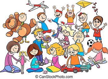 spielende , gruppe, karikatur, spielzeuge, kinder