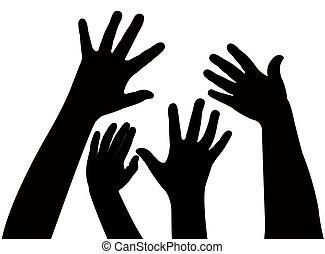 spielende kinder, hände, silhouette,