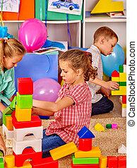 spielende , kindergarten, zusammen, gruppe, kinder, blöcke