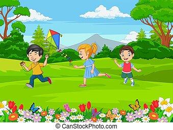 spielende , kleingarten, karikatur, wenig, kinder
