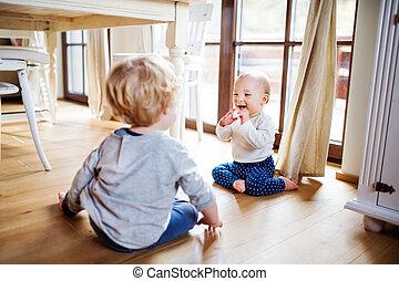 spielende , kleinkind, home., zwei kinder