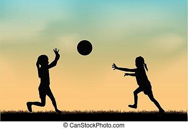 spielende , mit, a, ball.