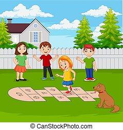 spielende , park, hopscotch, kinder
