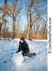 spielende , schnee, kind, glücklich