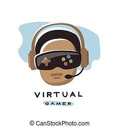 spielende , virtuell, reality., gamer, 3d