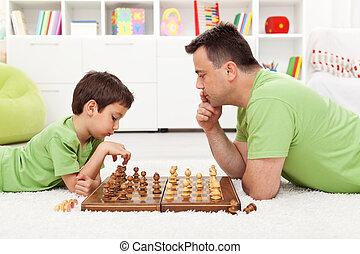 spielenden schach, mit, vati