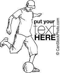 spieler, abbildung, treten, vektor, fußball, ball.