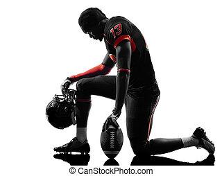 spieler, amerikanische , fußball, silhouette, knieend