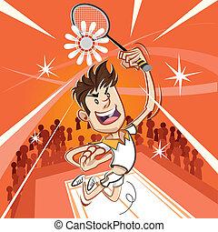spieler, badminton, mann