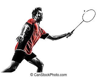 spieler, badminton, silhouette, junger mann