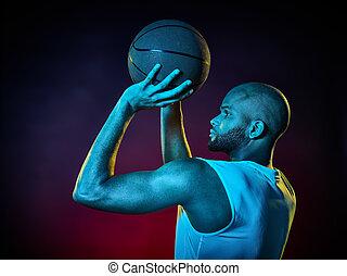 spieler, basketball, freigestellt, mann