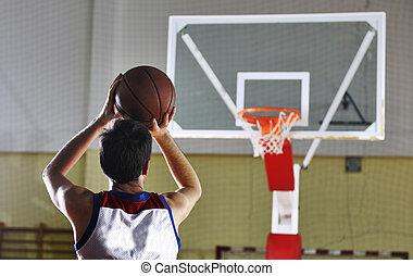 spieler, basketball, schießen