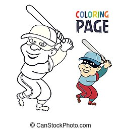 spieler, färbung, baseball, seite, karikatur