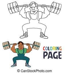 spieler, färbung, weightlifting, seite, karikatur
