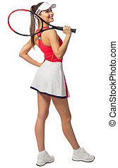 spieler, frau, tennis, freigestellt