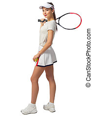 spieler, frau, tennis, junger