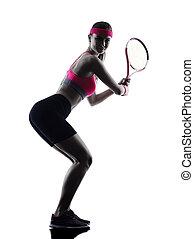 spieler, frau, tennis, silhouette