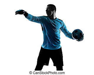spieler, freigestellt, weißes, torwart, schatten, fußball, silhouette, mann, hintergrund