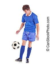 spieler, fußball, junger