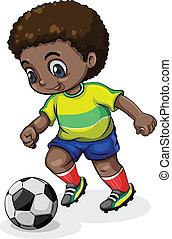 spieler, fußball, schwarz