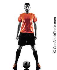 spieler, fußball, silhouette, freigestellt, mann
