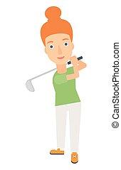spieler, golfen, ball., schlagen