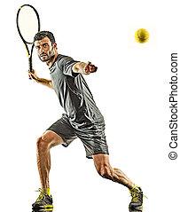 spieler, hintergrund, weißes, silhouette, tennis, vorhand, freigestellt, fälliger mann
