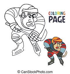 spieler, karikatur, färbung, seite, hockey