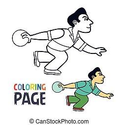 spieler, karikatur, färbung, seite, sportkegeln