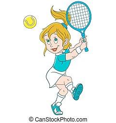 spieler, karikatur, m�dchen, tennis