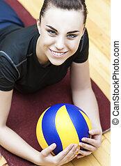 spieler, kaukasier, volleyball