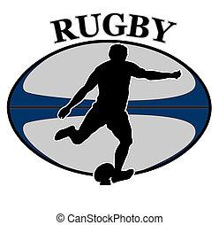 spieler, kugel, rugby, treten