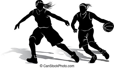 spieler, m�dchen, basketball, silhouette