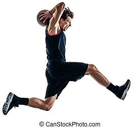 spieler, mann, freigestellt, basketball, silhouette, schatten