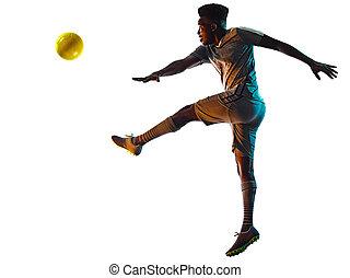 spieler, mann, hintergrund, weißes, freigestellt, schatten, junger, silhouette, afrikanisch, fußball
