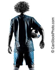 spieler, mann, teenager, fußball, silhouette, freigestellt, junger