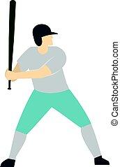spieler, professionell, baseball, freigestellt, ikone