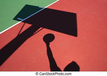spieler, schatten, basketball, legen, auf