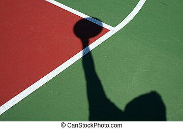spieler, schatten, basketball, schlüssel