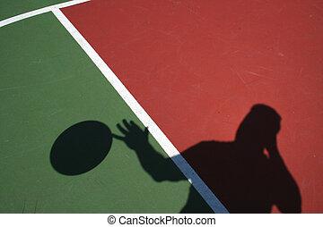 spieler, schatten, basketball, tröpfeln