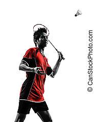 spieler, silhouette, badminton, mann, junger