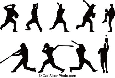 spieler, silhouette, baseball