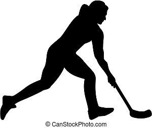 spieler, silhouette, floorball, weibliche