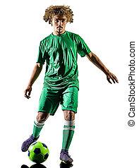 spieler, silhouette, freigestellt, mann, teenager, fußball, junger