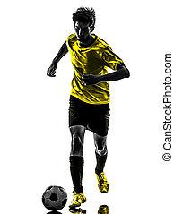 spieler, silhouette, mann, brasilianisch, fußballfootball, junger