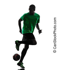 spieler, silhouette, mann, fußball, afrikanisch