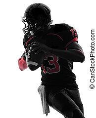 spieler, silhouette, quarterback, porträt, fußball, ...