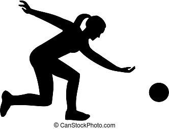 spieler, silhouette, weibliche , sportkegeln
