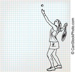 spieler, skizze, tennis, abbildung